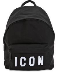 DSquared² Icon Patches Nylon Canvas Backpack - Black