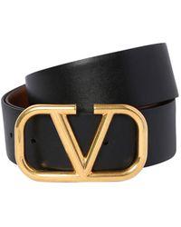 Valentino Garavani Valentino Garavani Go Logo リバーシブルレザーベルト 40mm - ブラウン