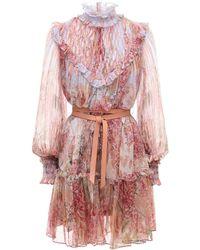 Zimmermann Botanica シフォンミニドレス - ピンク