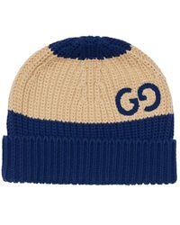Gucci - Mütze Aus Baumwollstrick Mit Gg-motiv - Lyst