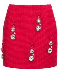 Area Mini-jupe En Tweed Détails Martelés Pendants - Rouge