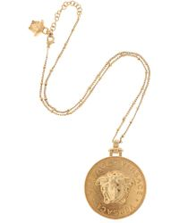 Versace - Embossed Coin Necklace - Lyst