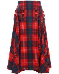 Noir Kei Ninomiya Wool Tartan Check Round Midi Skirt - Red