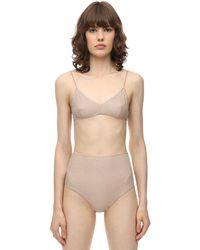 Oséree High Waist Lurex & Lycra Bikini - Natural
