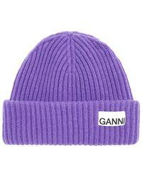 Ganni Recycled Wool Blend Knit Beanie - Purple