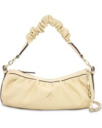 MANU Atelier Ruched Cylinder Chain Soft Leather Bag - Natural