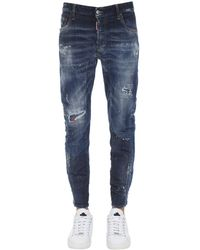 DSquared² 17cm Tidy Biker Cotton Denim Jeans - Blue