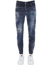 "DSquared² Jeans ""tidy Biker"" De Denim De Algodón 17 Cm - Azul"