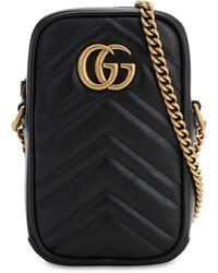 Gucci Gg Marmont 2.0 レザーショルダーバッグ - ブラック