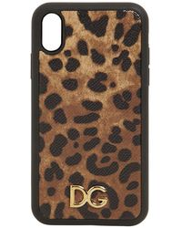 Dolce & Gabbana Cover Für Iphone Xr Aus Dauphine-Kalbsleder Leo-Print - Mehrfarbig