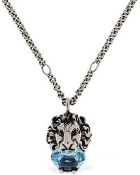 Gucci Lion Head Crystal Long Necklace - Metallic