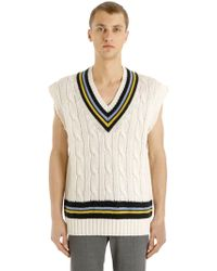 Maison Margiela - Oversized Wool Cable Knit Vest - Lyst