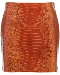 Givenchy シャイニーレザーミニスカート - ブラウン