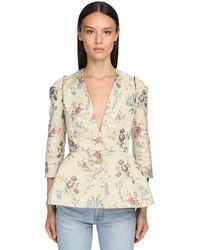Brock Collection Flower Jacquard Silk Blend Peplum Jacket - Natural
