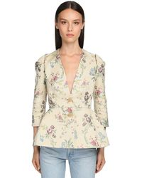 Brock Collection Flower Jacquard Silk Blend Peplum Jacket - Natural