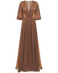 Costarellos Vestido Georgette De Lúrex Con Cinturón - Marrón