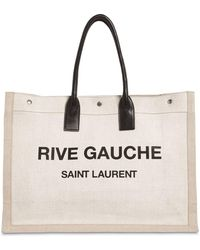 Saint Laurent - White And Black Rive Gauche Linen And Leather Logo Tote - Lyst