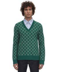 Gucci Pullover Aus Wolle Und Kaschmir - Grün