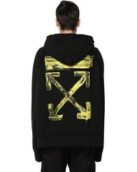 Off-White c/o Virgil Abloh Oversize Printed Cotton Jersey Hoodie - Black