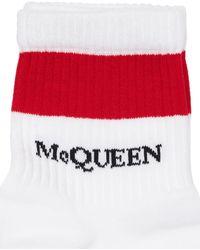 Alexander McQueen Chaussettes En Coton Mélangé Logo Intarsia - Blanc