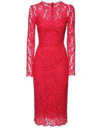 Dolce & Gabbana Платье Миди Из Хлопкового Кружева - Красный
