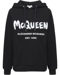 Alexander McQueen Sweat En Coton À Capuche Mcqueen - Noir