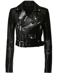 Givenchy パテントレザークロップバイカージャケット - ブラック