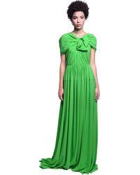 Delpozo シルククレープドレス - グリーン