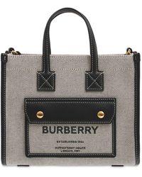 Burberry - Mini レザー&キャンバストートバッグ - Lyst