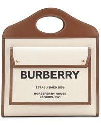 Burberry Medium Tote Aus Leder Und Canvas - Braun