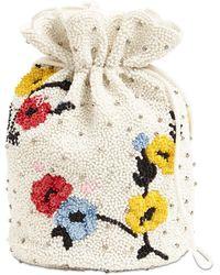 Ganni Beuteltasche mit Zierperlen - Weiß