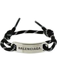 Balenciaga Bracelet Cordelette Avec Plaque Logo - Noir