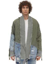 Greg Lauren Kimonosweatshirt Aus Denim Und Baumwollstoff - Grün