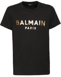 Balmain オーガニックコットンジャージーtシャツ - ブラック