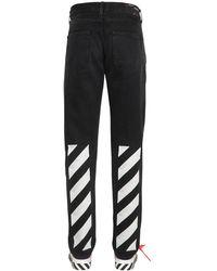Off-White c/o Virgil Abloh Jeans De Denim De Algodón Con Estampado - Negro