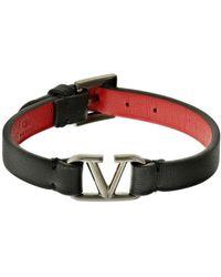 Valentino Garavani Valentino garavani armband aus leder mit v-logo - Rot
