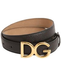 Dolce & Gabbana 25mm Dg Logo Grained Leather Belt - Black