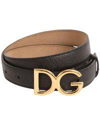 """Dolce & Gabbana Cinturón """"Dg"""" De Piel Con Logo 25Mm - Negro"""