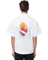Palm Angels Bowlinghemd Aus Popeline Mit Herz Jesu-druck - Weiß
