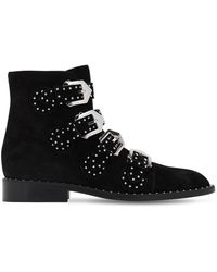 Givenchy Black Leather Studded Buckle Detail Ankle Boots Size 38