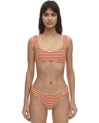 Solid & Striped Elle Striped Ribbed Lycra Bikini Top - Orange