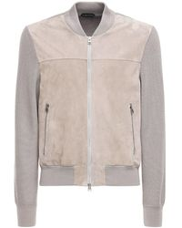 Tom Ford Suede & Wool Knit Jacket - Grey