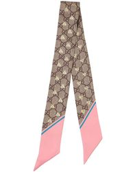 Gucci Gg Supreme Printed Silk Twill Scarf - Multicolour