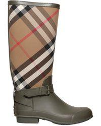 Burberry - Check Canvas & Rubber Rain Boots - Lyst