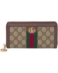 Gucci Ophidia Gg Supreme Zip Around Wallet - Multicolour