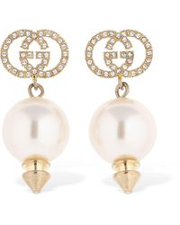 Gucci Gg Imitation Pearl Pendant Earrings - Metallic