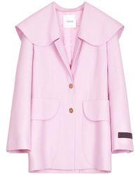 Patou Jacke Aus Wollserge Mit Gürtel - Pink