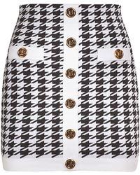 Balmain Knit Viscose Buttoned Mini Skirt - Black