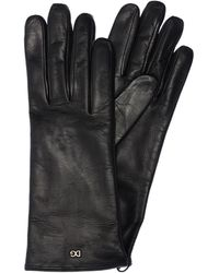 Dolce & Gabbana ロゴ レザー手袋 - ブラック