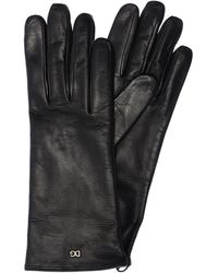 Dolce & Gabbana Logo Leather Gloves - Black